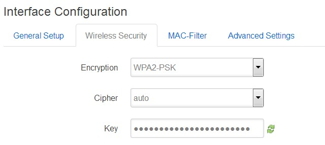Screenshot of setting up wireless security on the Linksys WRT1200AC