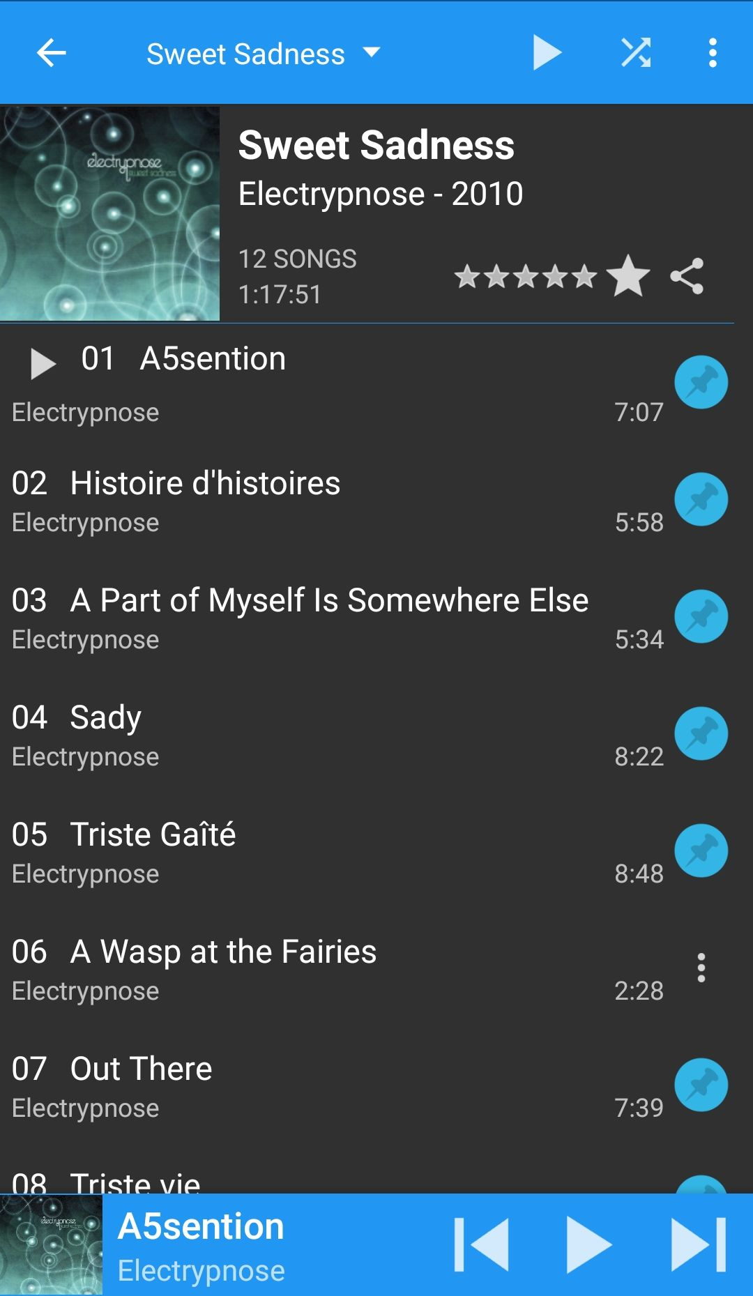 screenshot of DSub Android app streaming music from Airsonic