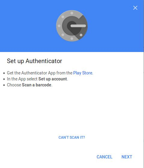 Google Authenticator App scan barcode