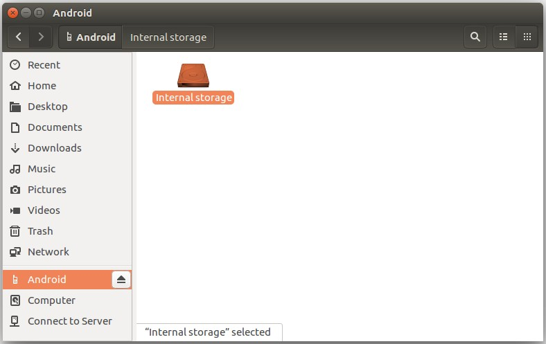 A screenshot of the Nexus 9 mounted in the filemanager on Ubuntu 16.04