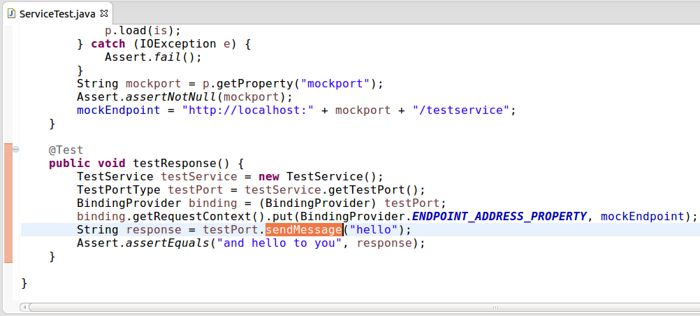 Screenshot of the Java source code for a JAX-WS service client integration test