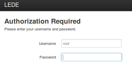 Screenshot of signing in to LuCI web interface