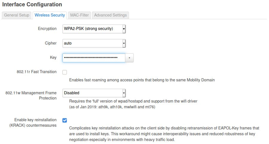 Screenshot of OpenWRT's wireless security for Linksys WRT1900ACS