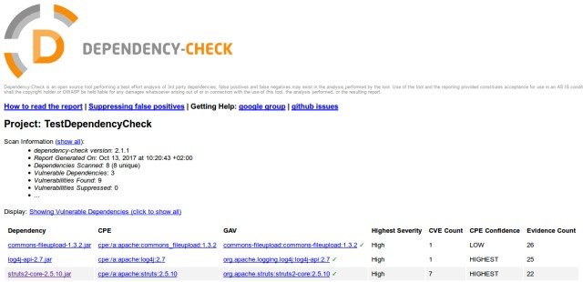 screenshot of OWASP DependencyCheck report