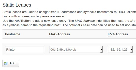 Screenshot of setting a static IP address for a printer